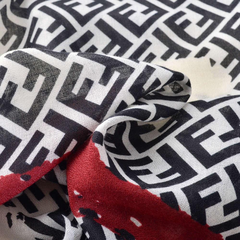 DesignerJieling Scialle di alta qualità Scialle da donna nuova lettera F autunno e inverno cotone di canapa a mano lunga sciarpa solare spiaggia vacanze