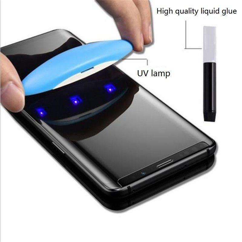 Защитные элементы для клеточных экранов Мобильный телефон Защитная пленка для жидкости УФ-закаленная мембрана для Samsung S21 Ultra Note 10 Pro S10 и более