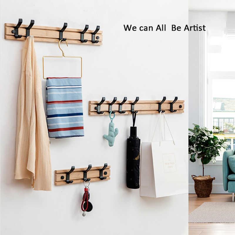 Home Aufbewahrung Haushaltsprodukte Wandmontierter Mantel Haken Holz Rack Kleidung Gewand Handtuchhalter Hut Tasche Haken Wohnschlafzimmer 210609