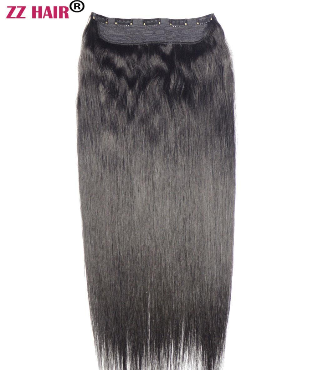 """16 """"-28""""원피스 세트 140g 100 % 브라질 레미 클립 인간의 머리카락 확장 5 클립 자연 직선"""