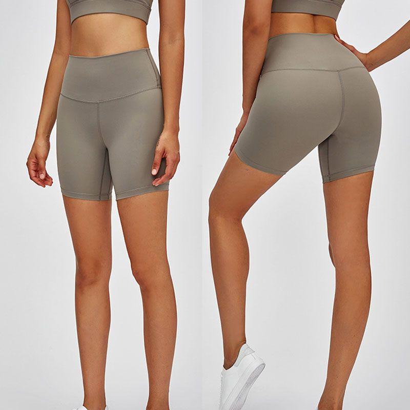 L-08 Yoga Shorts High-Rise Sentimento Nu Feminino Calças Apertivas Elásticas Mulheres Esportes Hot Calças Quentes Yoga Outfits Sportswear Fitness Slim Fit Yoga Calças