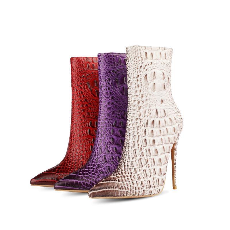 Bottes 2021 Faux stéréoscopiques Crocodile Crocodile Fashion Femmes Femmes High High High High Toe Toe Toe Chaussures Automne Hiver