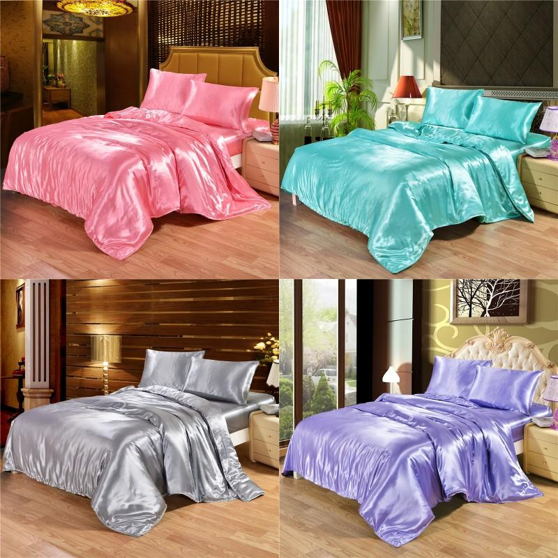 4 pcs conjunto de cama de seda de luxo conjunto de cetim rainha king size conjunto de cama de edredão Roupa de capa de edredão com fronhas e lençóis 1814 v2