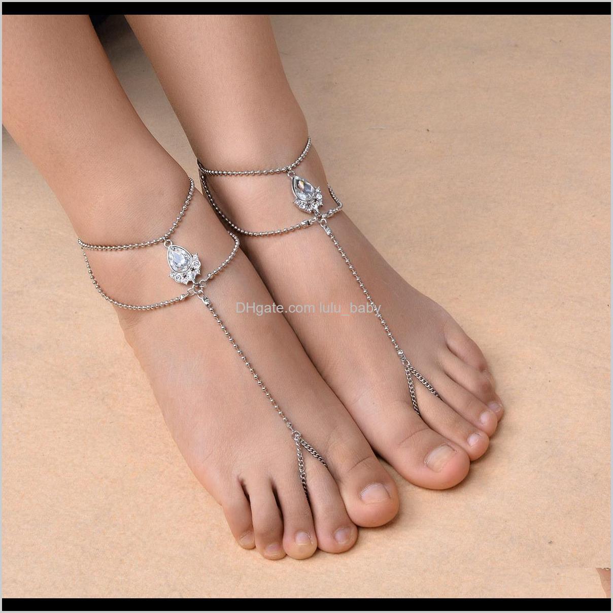 1pc Boemia Elegante sandali a piedi nudi con toe anello anklet braccialetto catena spiaggia gioielli da sposa per donna e ragazze GSJ7K Wadyg