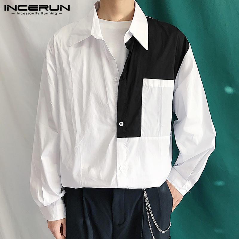 패션 남자 패치 워크 셔츠 Lapel Streetwear 긴 소매 버튼 캐주얼 브랜드 한국어 스타일 세련된 탑 Chemise S-5XL Incerun 남자 셔츠
