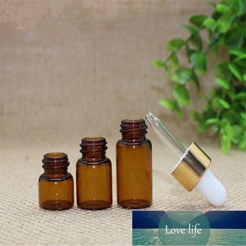 1 ml 2 ml 3 ml Mini Amber Temizle Cam Uçucu Yağ Şişesi Orifice Redüktör Kapı Kahverengi Cam