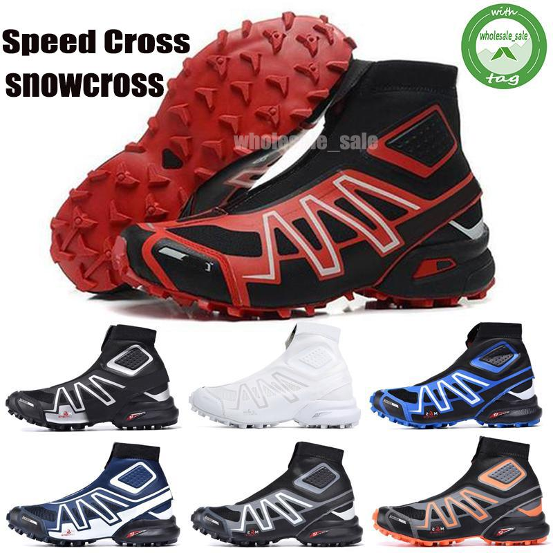 New Snowcross CS Trail Winter snow men boots Black Volt Blue Red Sock Chaussures Mens Trainers Boot Shoes 40-46