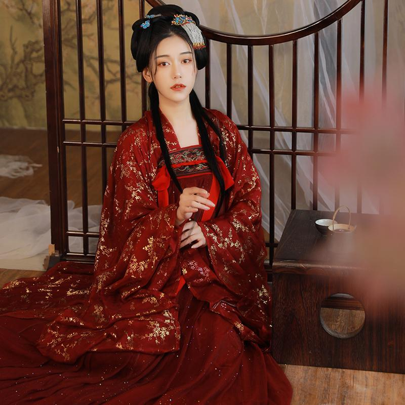 Stage Wear Women Red Hanfu Chinese Traditional Costume Modern Dress Fairy National Outfit SL1278