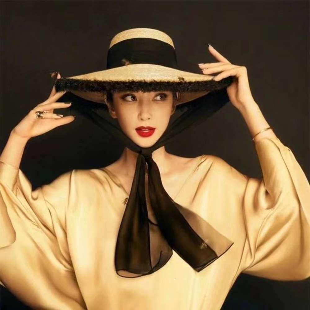 Bayanlar için Li Bingbing'in Büyük Brim Hasır Şapka