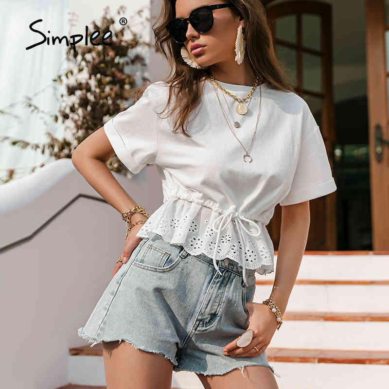 Simple Casual Cordilheira Branco T-shirt Ruffled O-pescoço de Manga Curta T Tops Algodão Elegante Feriado Top Camisas Verão 210323