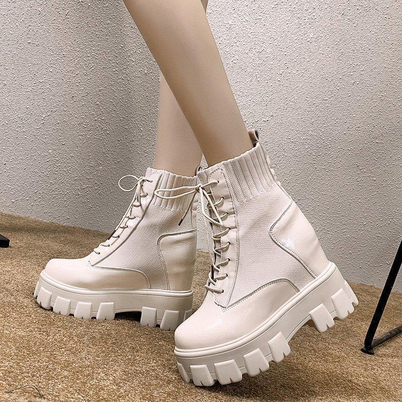 Boots 2021 Autumn Women Ankle Round Toe Lace-up Platform Short Female PU Soft Leather Black Drop