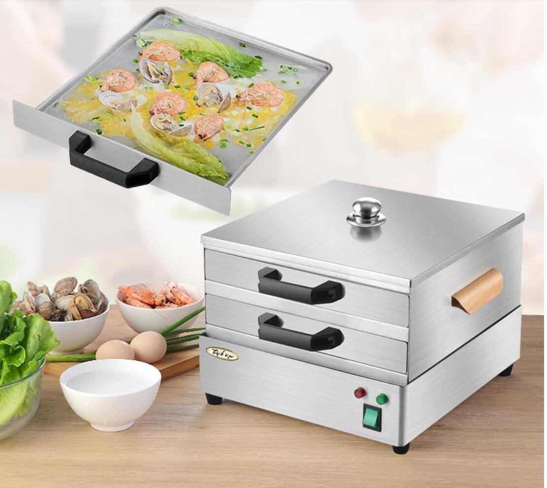 الكهربائية الحرارية 2 مستويات 304 الفولاذ المقاوم للصدأ الأرز المعكرونة لفة البخار كعكة البخار آلة الشعيرية لفة تبخير فرن باخرة المنزلية