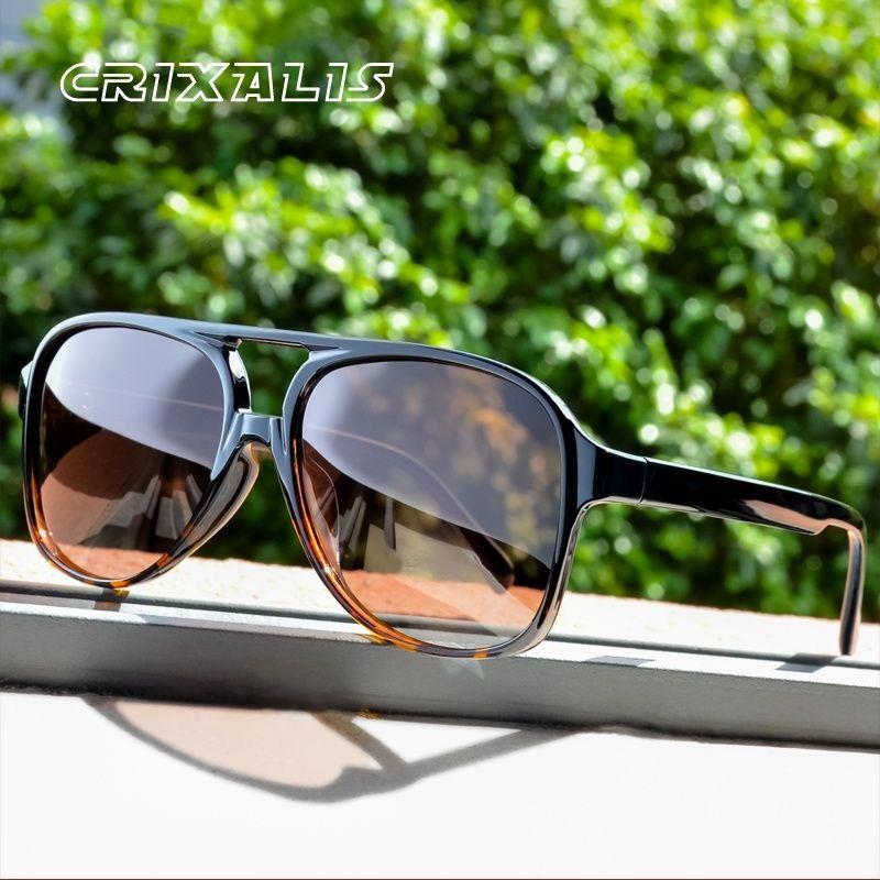 Bayan Güneş Gözlüğü CRIXALIS Vintage Pilot Güneş Gözlüğü Kadın Erkek Büyük Boy Parlama Sürücü Retro Kadın Shades Lady UV400 Zonnebril Dames
