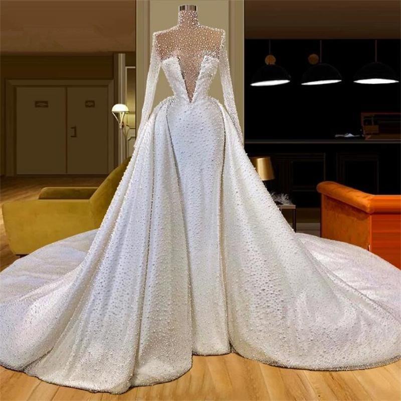 Vestido دي noiva 2021 كامل اللؤلؤ حورية البحر فساتين الزفاف طويل دبي العربية أثواب الزفاف للنساء مخصص فستان العروس