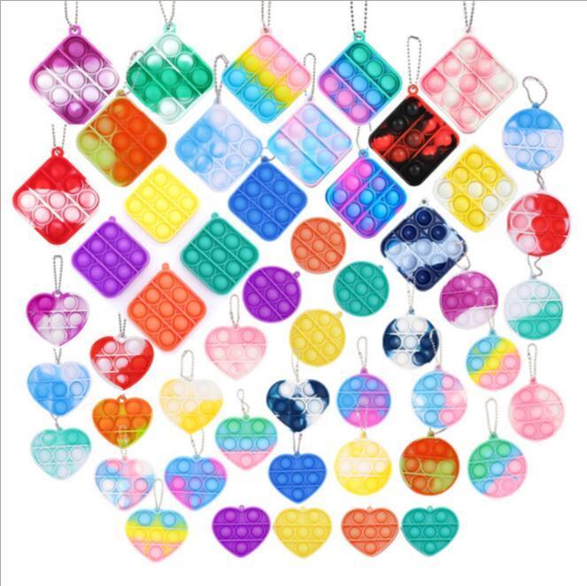 Multi forme Fidget Bubble Popper Toys Giocattoli Chiave Anello Dito Puzzle Quadrato Cerchio Push Pop Board Game Bambini Portachiavi Borsa Ciondolo Ciondoli Charms Stress Relief Antica Learninghingh38ntd8