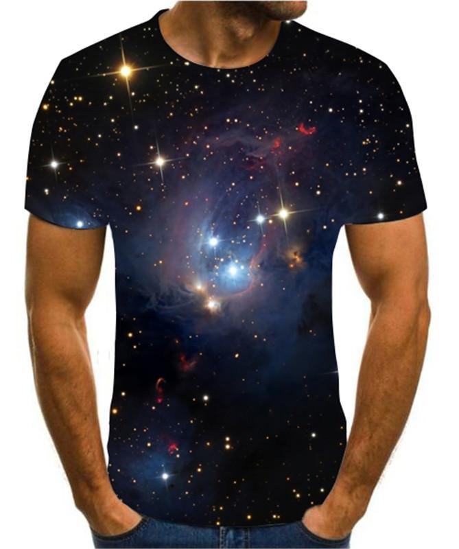 2020 Moda CALIENTE CALIENTE 3D Hombre Verano Impresión Ciencia Ficción Noche Aurora T-shirt 3d Psychedélico camiseta S-6XL