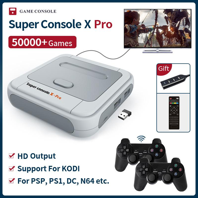 Süper Konsol X PRO S905X HD WiFi Çıkışı Mini TV Video Oyun Oyuncu PSP / PS1 / N64 / DC Oyunları Çift Sistem Dahili-in 50000+ Oyunlar 210317