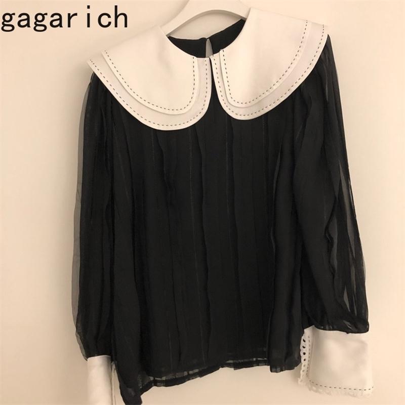 Mulheres Camisas Primavera Outono Francês Temperamento Doce Meninas Rendas Costura Idade-Reduzindo Collar Solto Pullovers 210506