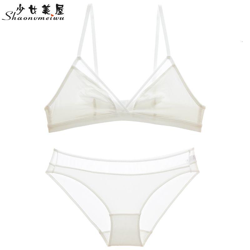Shaonvmeiwu супер тонкий французский сексуальное нижнее белье простая треугольник чашка белый набор нет мяч маленький сундук