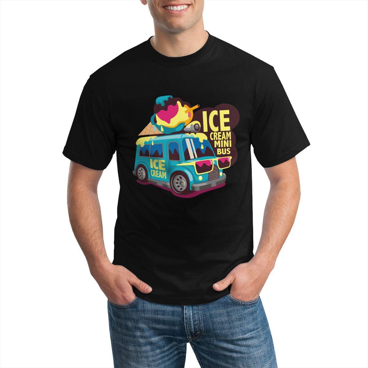 망 아이스크림 버스 티셔츠 디자인 스트리트 스타일 인쇄 남성 하라주쿠 티셔츠 O 넥 스웨터
