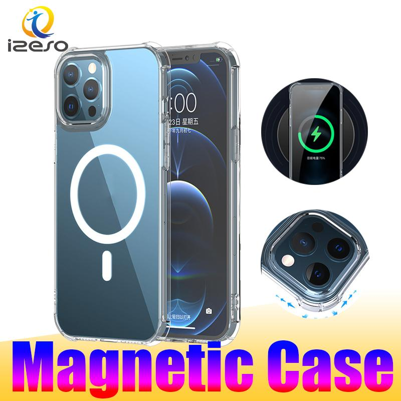 Magnetic Cases for iPhone 12 11 Pro Max Transparent Protective Cellphone Back Cover Shockproof Soft TPU Clear Mobile Phone Case izeso