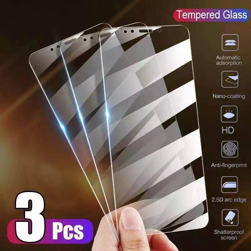 3 قطع حامي الهاتف غطاء كامل الزجاج الكامل على آيفون X XS MAX XR 12 خفف GLAS 7 8 6 6S Plus 5 5S SE 11 Pro Screen