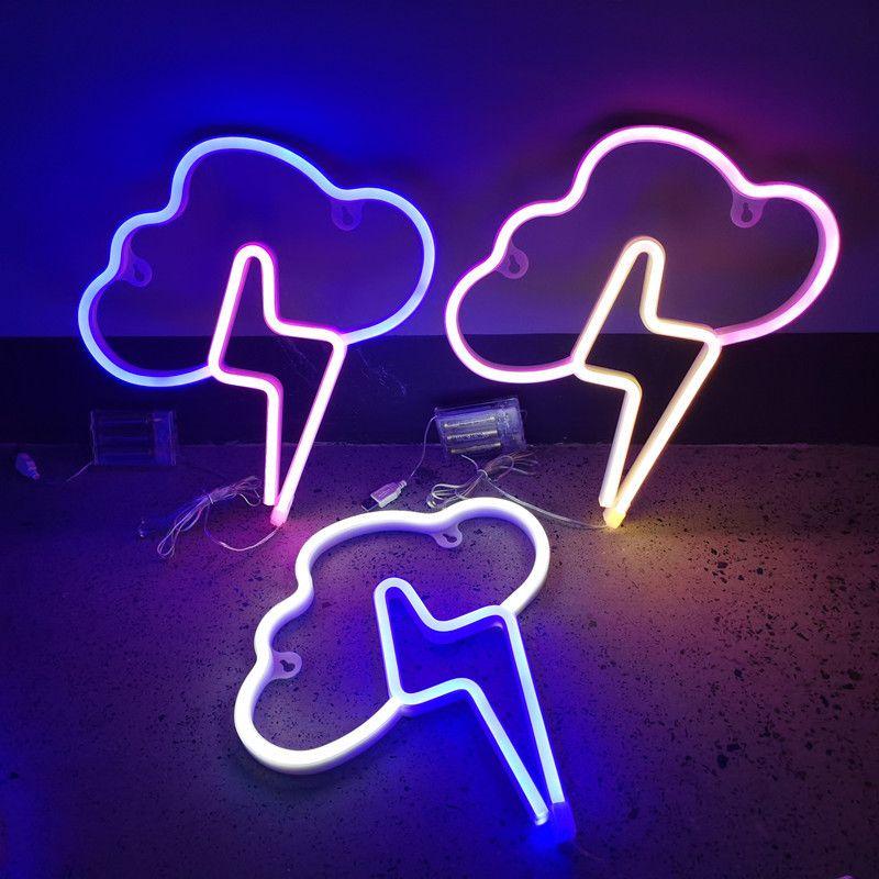 LED Neon Burcu SMD2835 Kapalı Gece Işık Bulut Yıldırım Modeli Tatil Noel Parti Düğün Süslemeleri Masa Lambaları