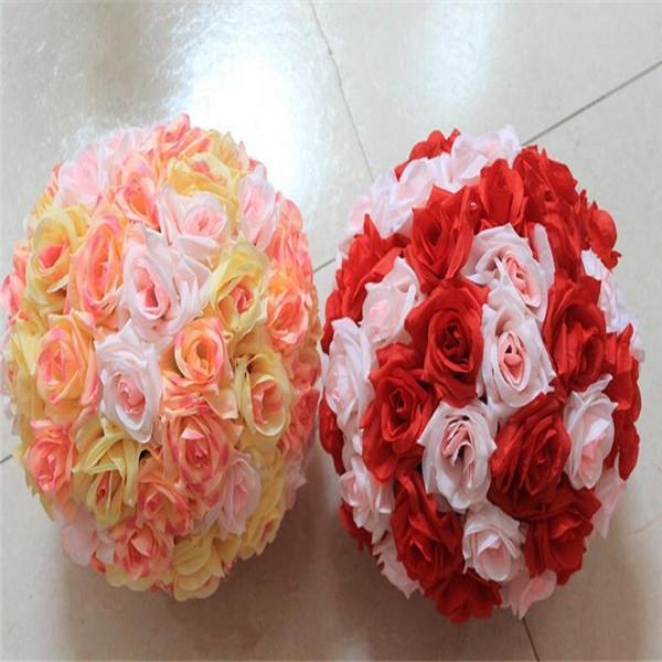 15 Inch Wedding silk Pomander Kissing Ball flower ball decorate flower artificial flower for wedding garden market dsf0605
