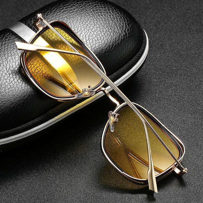 Elbru 2021 Vintage Hommes Sunglasses en métal Métal Retro Square Steampunk Sun Lunettes Sunshades Male Sunshats Mode Colorful Lunettes pour la conduite