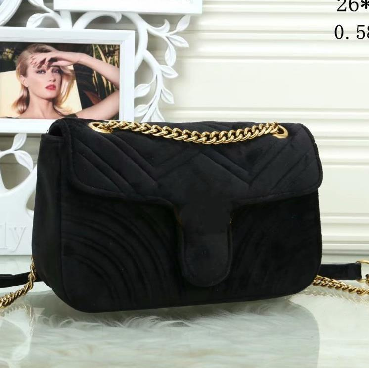 2021 Satış Tasarımcısı-Kadife Çanta Çanta Kalp Şeklinde Kadın Omuz Çantası Tasarımcı Çanta Cüzdan Bagaj Kapak Zincir Moda Messenger Çanta