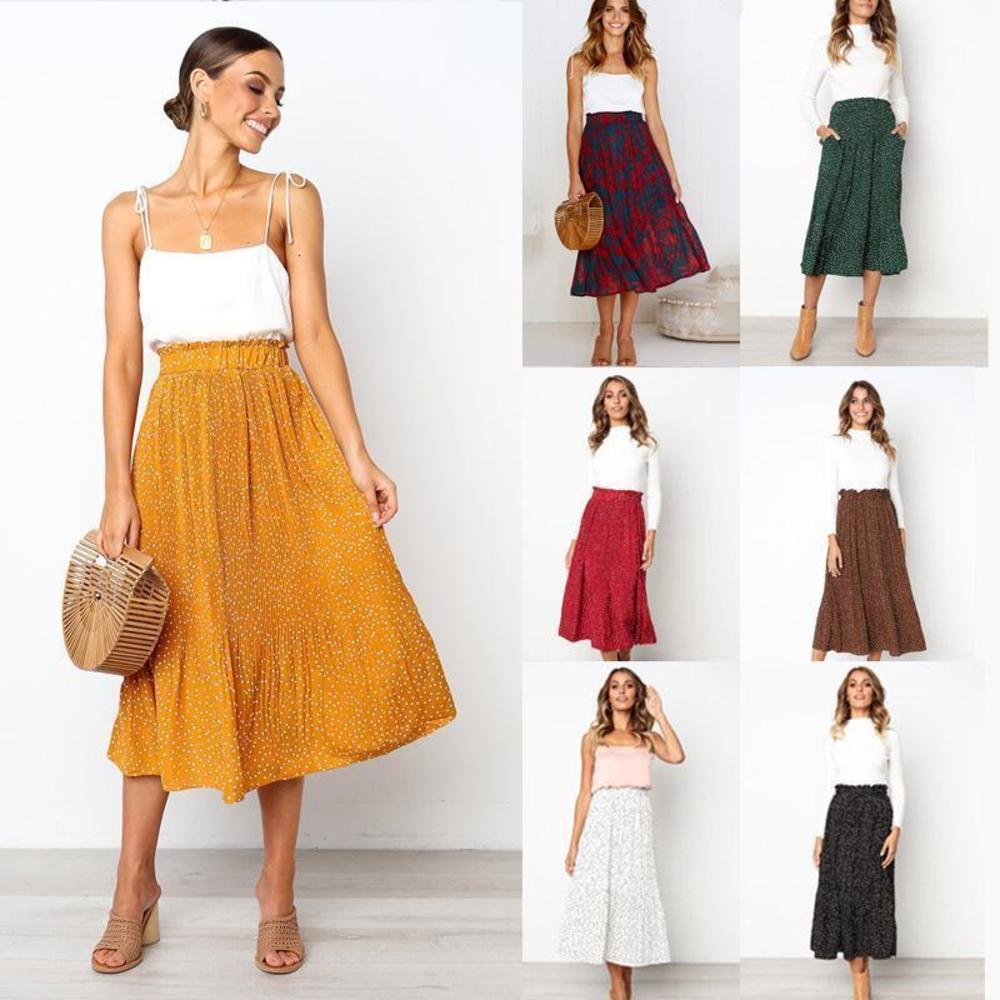 Primavera Estate Polka Dot Stampa Elastico Vita Alta Piegata Maxi Gonna Femmina Casual Chiffon Fashion New Women Bohemian Long Grirsts1
