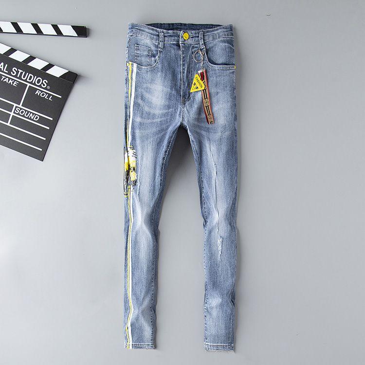 Tasarımcı Kot Erkek Sıkıntılı Yırtık Sıska Pantolon Lüks Giysi Ince Motosiklet Moto Biker Hip Hop Denim Adam Nakış Göz Pantolon