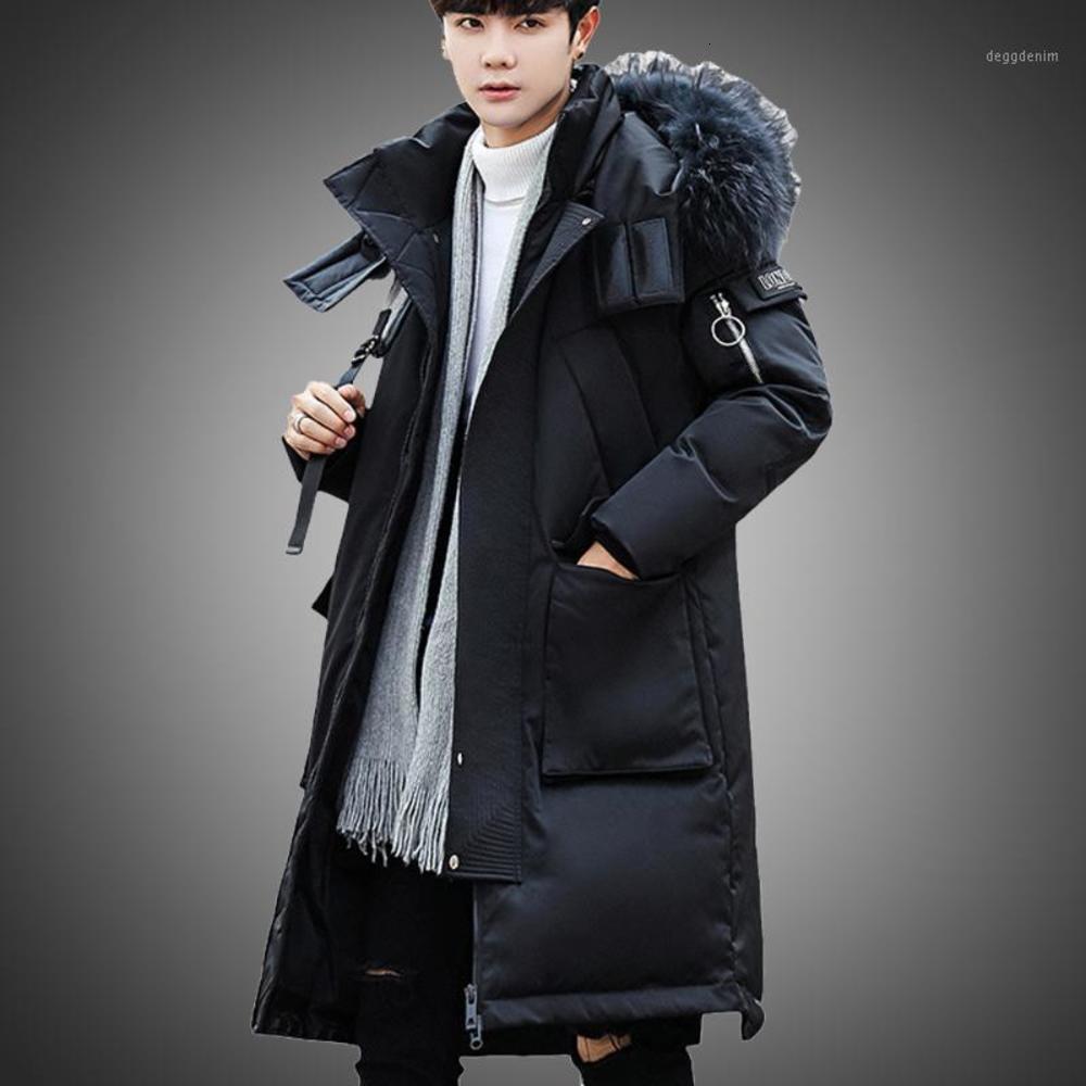 Chaqueta de invierno para hombre Cuello de piel de piel Abrigo Abrigo Hombres Outwear Chaqueta Largo al aire libre Apropiete a prueba de viento con grandes bolsillos 20201