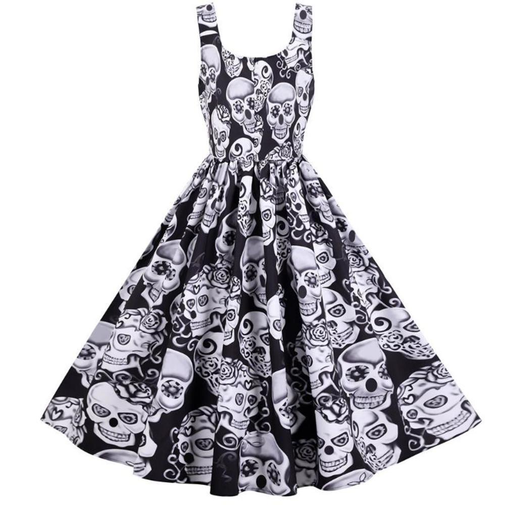 Summer skater dress elegant Vintage Red Sugar Skulls Flower print 50s rockabilly Evening Party Plus size Halloween Dresses