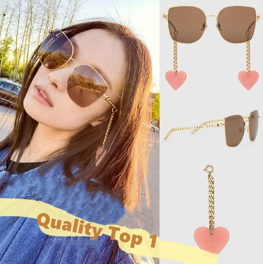 2021 Neueste Mode Sonnenbrille Frauen Online Celebrity Style Einstellbare Herzkette Designer Square Beach Sonnenbrille mit Box