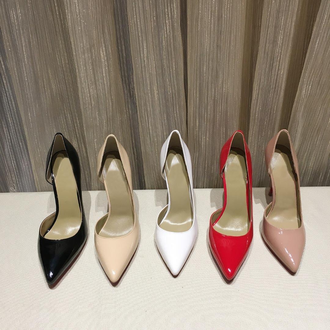 أزياء المرأة اللباس الحذاء الأحمر أسفل منصة مضخات الأسود براءات الاختراع الجلود مدبب تو عالية ارتفاع كعب أحمر قيعان المرأة عالية الكعب الأحذية مربع