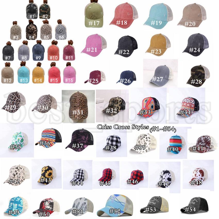Ponytail Sombrero 65 estilos Criss Cross lavado angustiado Messy Bollos PonyCaps Cap de béisbol gorros de malla sombreros cyz3225