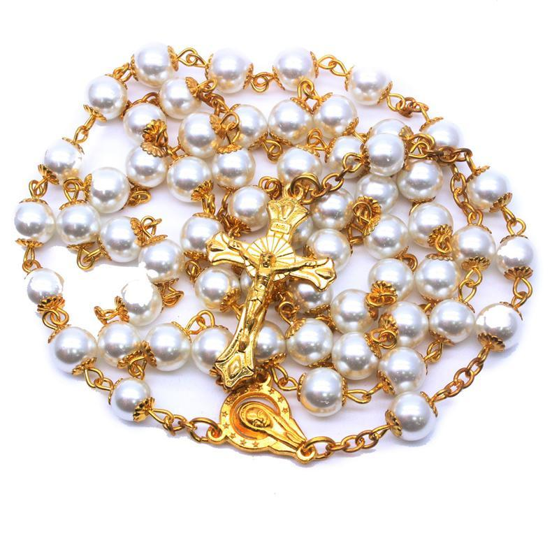 8mm Golden Perle Rosaire Collier Bijoux Croix Catholique Fournitures religieuses Colliers Pendentif
