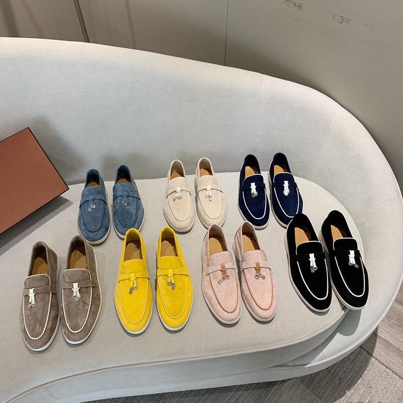 2021 مصمم أحذية رياضية سحر الصيف المشي مولر النساء الأحذية الأزياء الفاخرة عارضة الأحذية الكلاسيكية من جلد الغزال المشي الشقق العجل البغال البناين منصة