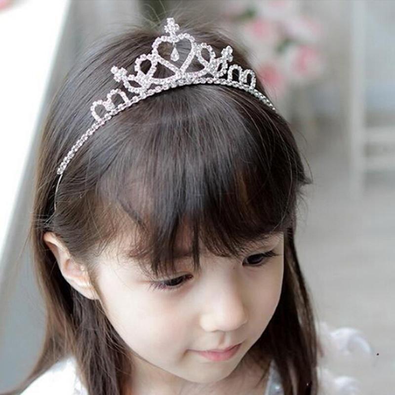 Kızın Kafa Bandı Prenses Kraliçe Rhinestone Tiara Saç Bandı Çocuklar Elastik Çiçek Taç Şapkalar Kafa Aksesuarları Kız Hediye Klipler Tokalar