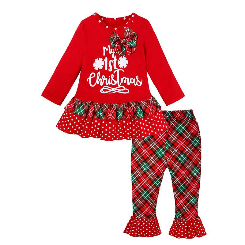 2021 New Christmas Party Toddler Girls Clothing Suit Cartoon T-shirt Tops Pants Set Baby Clothes Gift