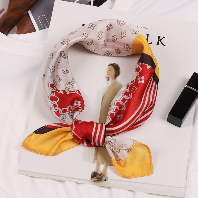 Otoño 50 seda satinada pequeña bufanda cuadrada hembra femenino imitación salvaje babero dual-uso diadema bufandas