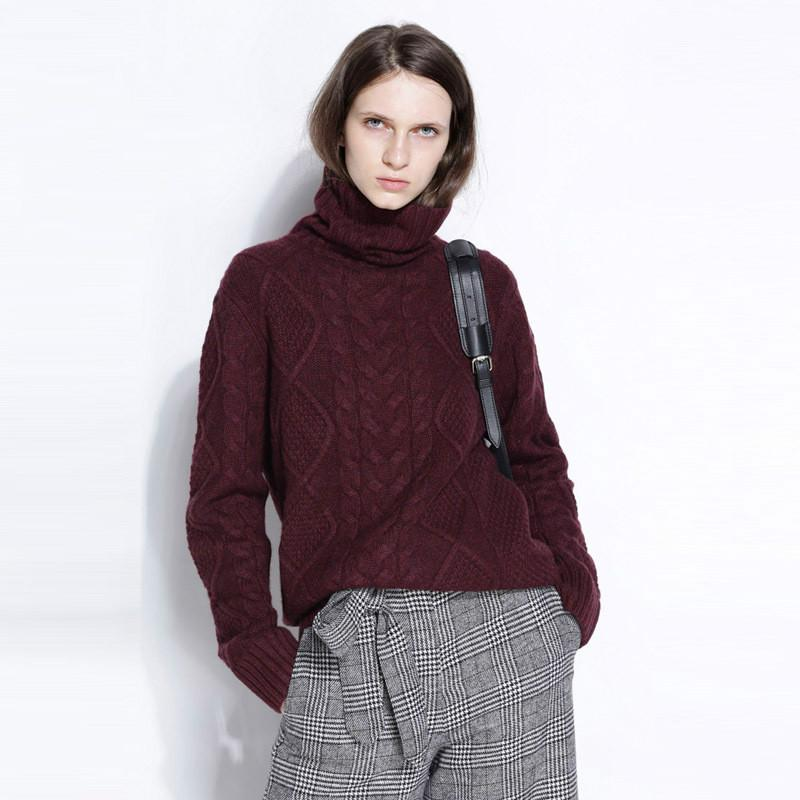 Estilo para otoño e invierno tortuga de tortuga de tortuga de tortuga de tortuga de tortuga de punto acolchado relleno suelto plus-tamaño de cachemira suéter suéter suéter
