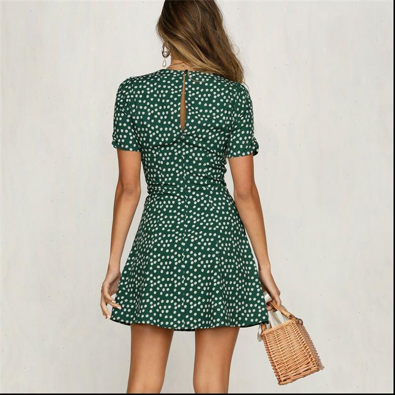 Mini Vintage Sundress Printed Casual Women Dress Summer Short Sleeve Party Evening Beach Boho Polka Dot
