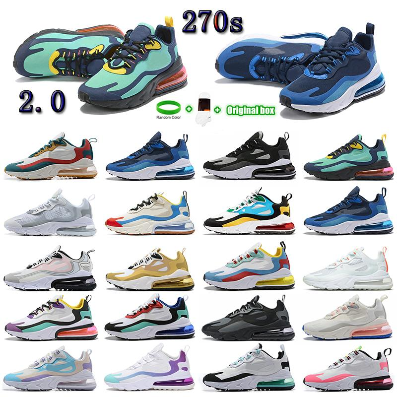 Bauhaus 블루 270 React Mens 러닝 신발 트리플 블랙 화이트 브리드 황혼 보라색 오라클 아쿠아 270S 2.0 사파리 남성 여성 트레이너 스포츠 스니커즈