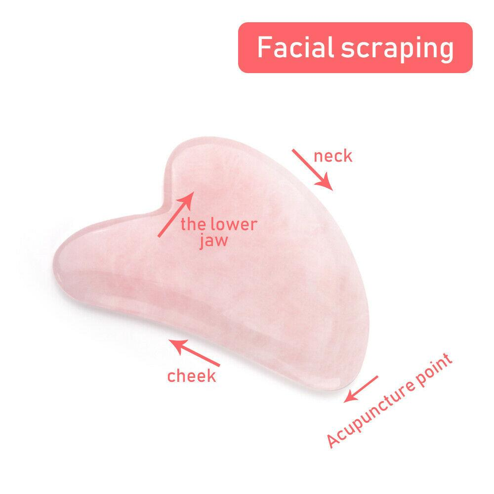 Jade Roller Stone Gua sha Scraping Board Set Rose Quartz Face Lift Massager Facial Massage Eye Cream Mixing Spatula Scoop Tools