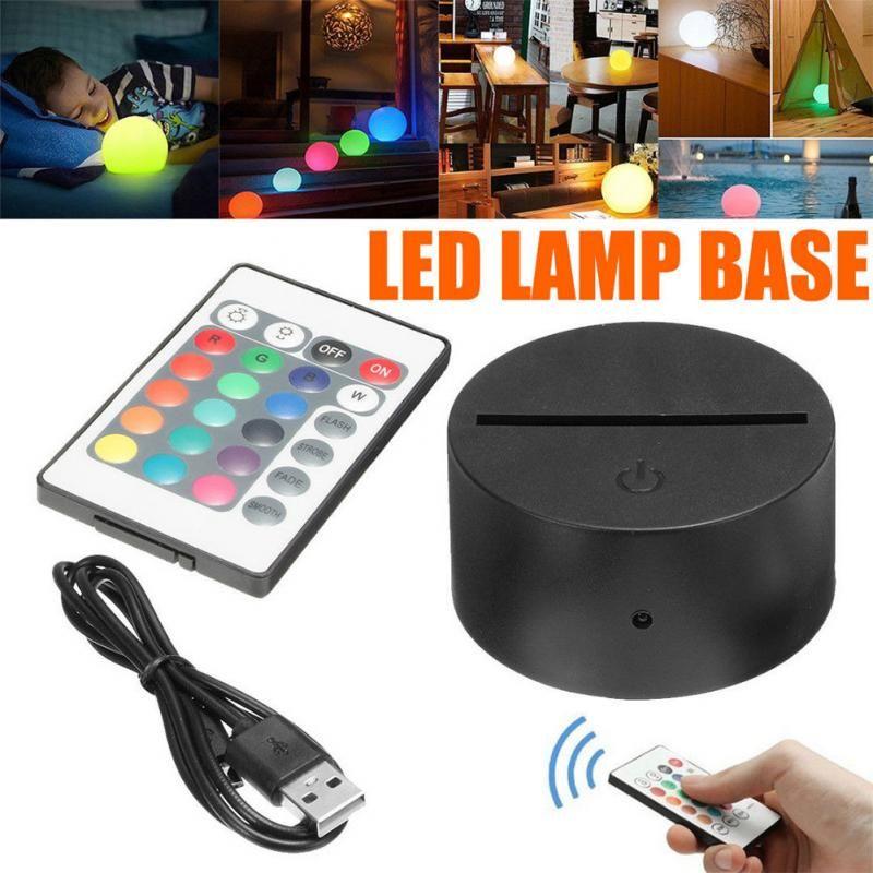 Lámpara LED Base RGB Enchufe de luces para la ilusión 3D Lámpara táctil Bases 4mm Panel de luz acrílico Powered by AA Battery o DC 5V USB Puerto 3D Night Lights RGB Base con controlador IR