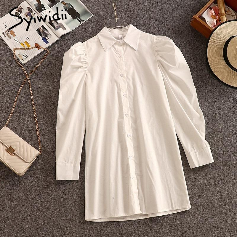 Syiwidii Puff Sleeve White Shirt Dress Women Party Long Turn Down Collar XXL Shoulder Birthday For 2021 Casual Dresses