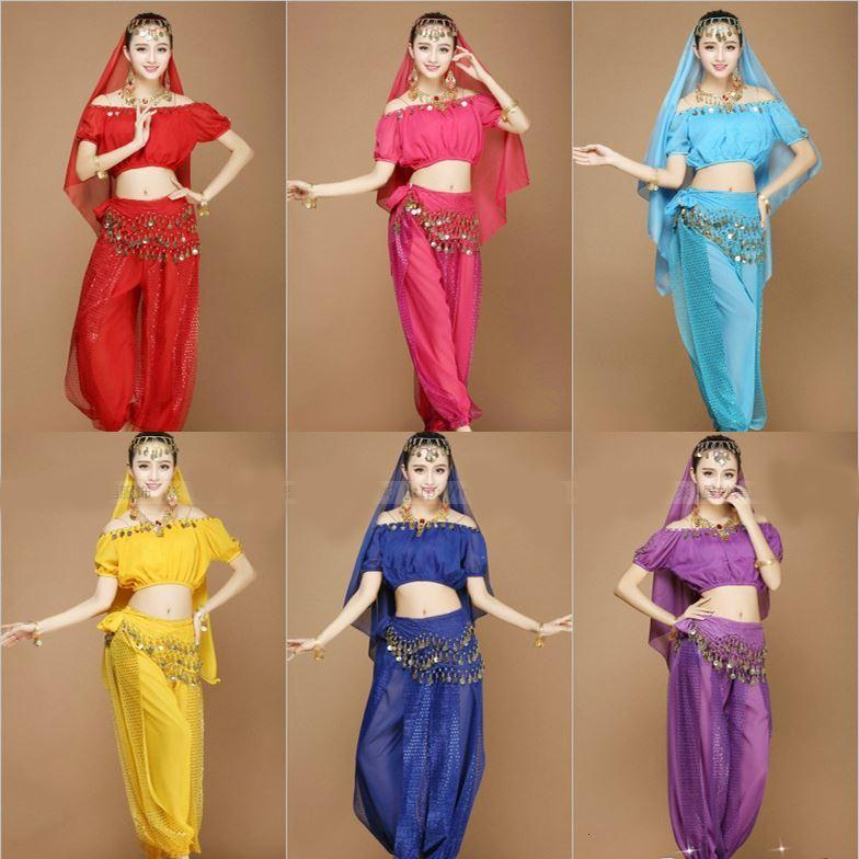 Stage Wear New Sexy Women Adult Arabic Indian Egyptian Cheap Belly Dance Costumes Set 4 Pieces Crop Top Harem Pants Hip Scarf Veil