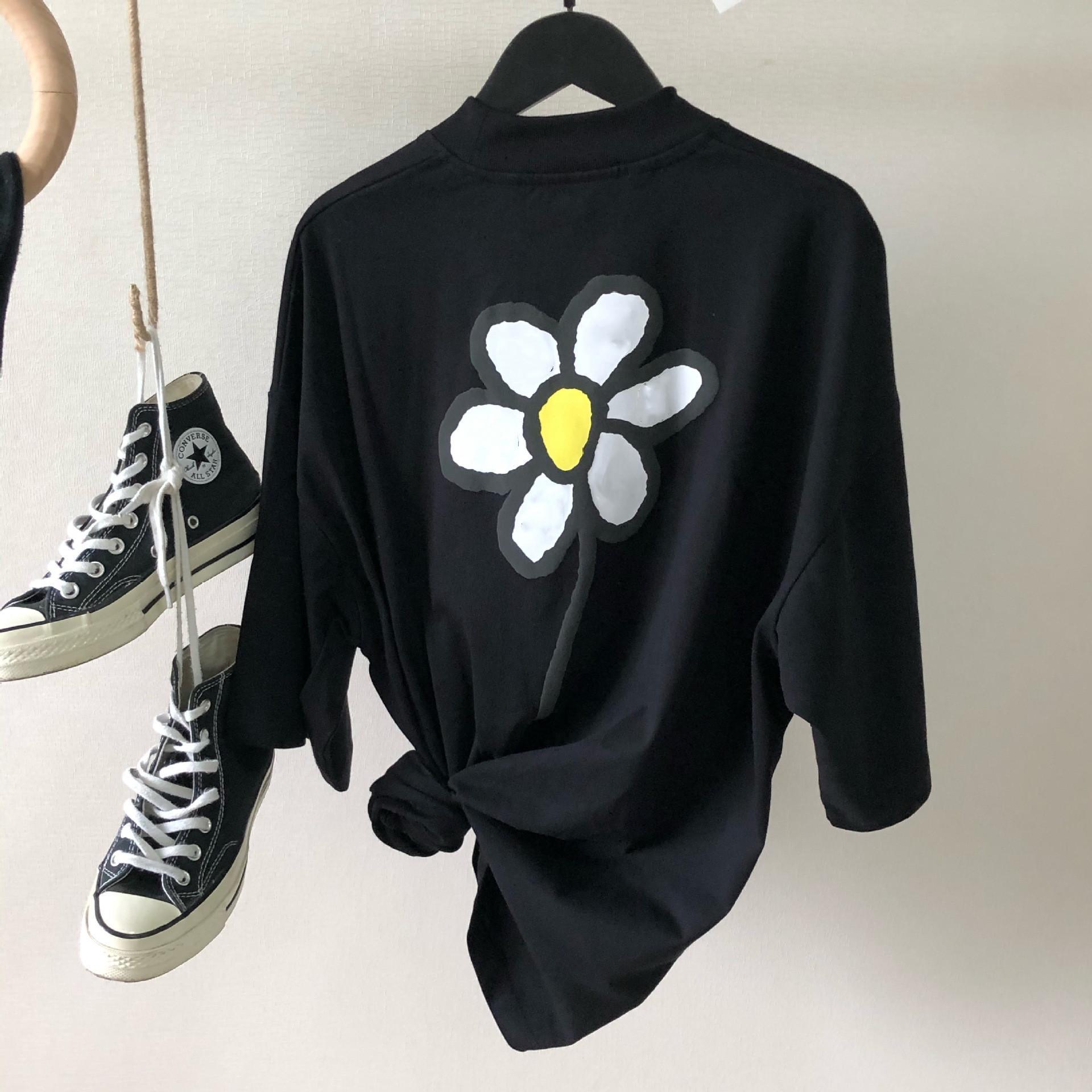 2021 Neue Mode Kleine Gänseblümchendrucken Kurzarm T-Shirt für Männer und Frauen Reiner Baumwolle Rundhals Pullover Kurzarm T-Shirt